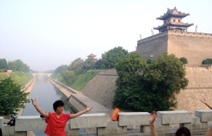 Fully preserved city wall and moat in Xi'an.