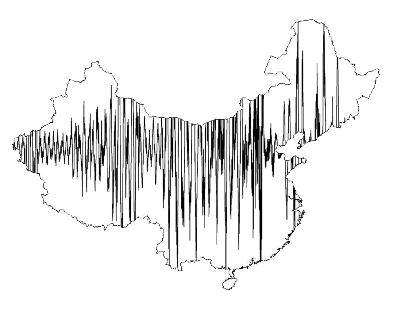 China map with sound waves