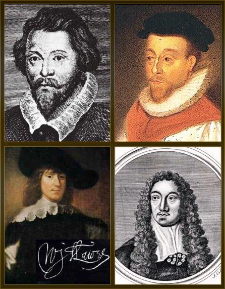 Collage of William Byrd, Orlando Gibbons, Matthew Locke, William Lawes