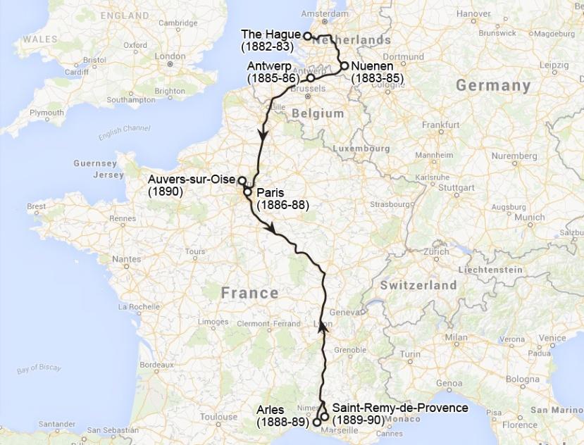 map of Van Gogh's travels