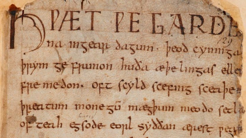 Opening lines of Beowulf manuscript